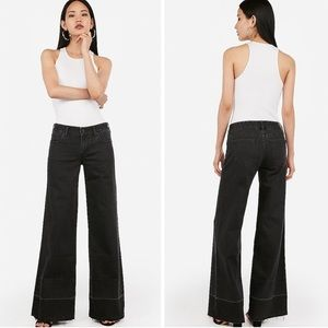 Express Super Wide Leg Low Rise Jeans Raw Hem Blk